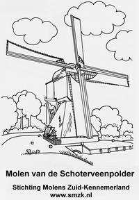 Kleurplaat van de molen van de Schoterveenpolder